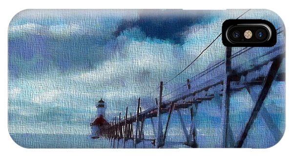 Saint Joseph Pier Lighthouse In Winter IPhone Case