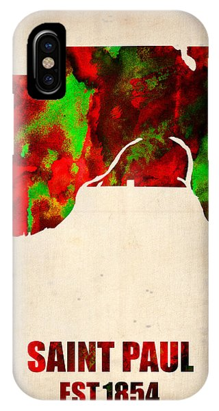 Minnesota iPhone Case - Saint Paul Watercolor Map by Naxart Studio
