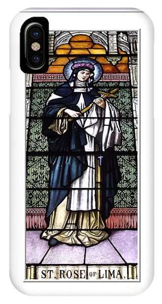 Saint Rose Of Lima Stained Glass Window IPhone Case