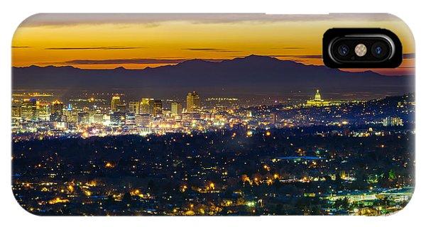 Salt Lake City At Dusk IPhone Case