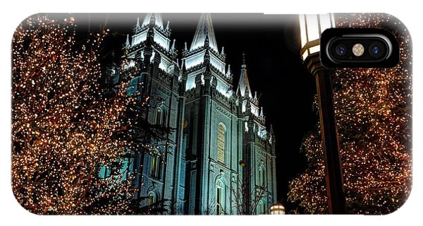 Salt Lake City Mormon Temple Christmas Lights IPhone Case