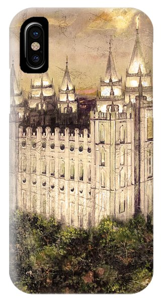 Salt Lake Temple In The Evening  Antique Pink IPhone Case