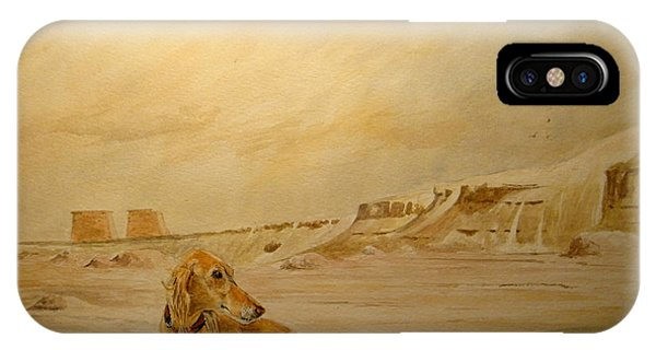 Ruin iPhone Case - Saluky At Luxor by Juan  Bosco