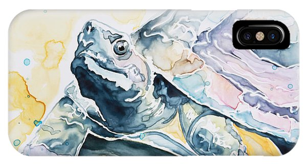 Watercolor Pet Portraits iPhone Case - Sammy The Turtle by Shaina Stinard