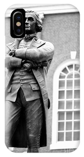 Samuel Adams Statue State House Boston Ma Black And White IPhone Case