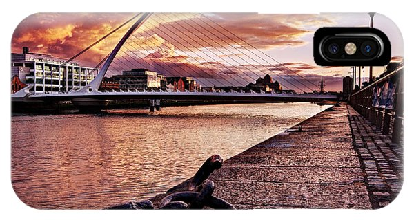 IPhone Case featuring the photograph Samuel Beckett Bridge At Dusk - Dublin by Barry O Carroll