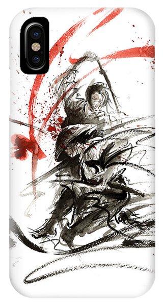 Asia iPhone Case - Samurai Sword Black White Red Strokes Bushido Katana Martial Arts Sumi-e Original Fight Ink Painting by Mariusz Szmerdt