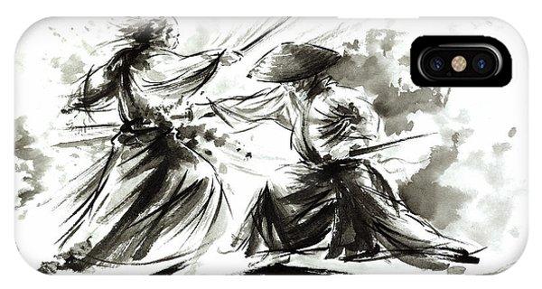 Asia iPhone Case - Samurai Sword Bushido Katana Martial Arts Budo Sumi-e Original Ink Painting Artwork by Mariusz Szmerdt
