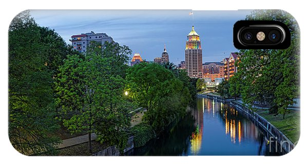 Bald Cypress iPhone Case - San Antonio Skyline Tower Life Building And Riverwalk From Cesar Chavez Boulevard - Texas by Silvio Ligutti