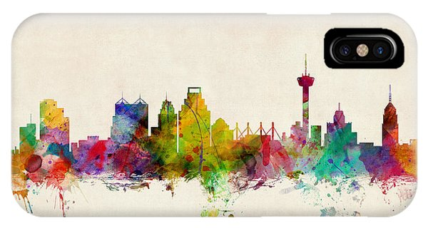 United States iPhone Case - San Antonio Texas Skyline by Michael Tompsett