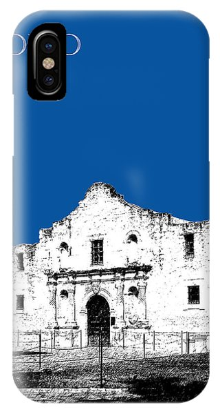 The Alamo iPhone Case - San Antonio The Alamo - Royal Blue by DB Artist