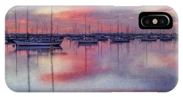 Abstract Digital iPhone Case - San Diego - Sailboats At Sunrise by Lianne Schneider