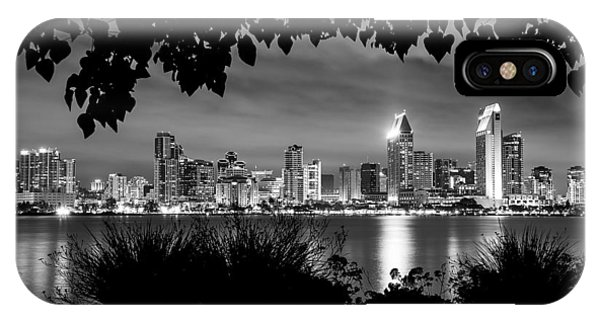 San Diego Skyline Framed 2 Black And White IPhone Case