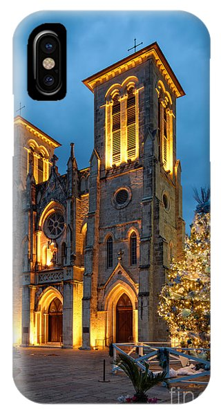 San Fernando Cathedral And Christmas Tree Main Plaza - San Antonio Texas IPhone Case