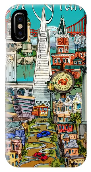 China Town iPhone Case - San Francisco Illustration by Maria Rabinky