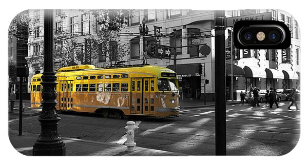 San Francisco Vintage Streetcar On Market Street - 5d19798 - Black And White And Yellow IPhone Case