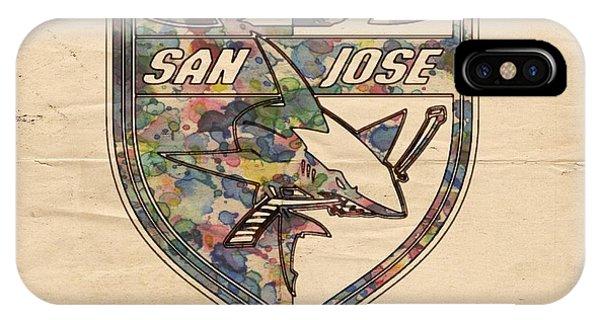 San Jose Sharks Retro Poster IPhone Case