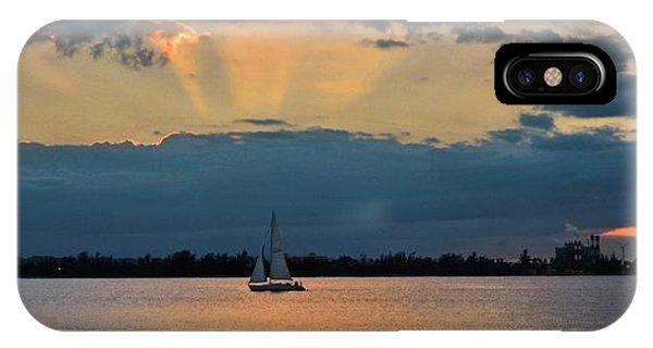 San Juan Bay Sunset And Sailboat IPhone Case