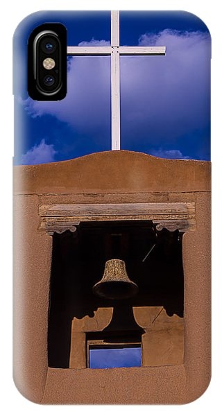 San Miguel iPhone Case - San Miguel Church Bell And Cross by Garry Gay