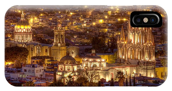 San Miguel iPhone Case - San Miguel De Allende At Night by Lindley Johnson
