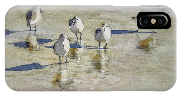 Bird Watercolor iPhone Case - Sandpipers 2 Watercolor 5-13-12 Julianne Felton by Julianne Felton
