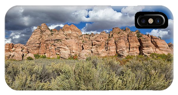 Sandstone And Clouds In Zion Natl Park Utah Phone Case by Yva Momatiuk John Eastcott