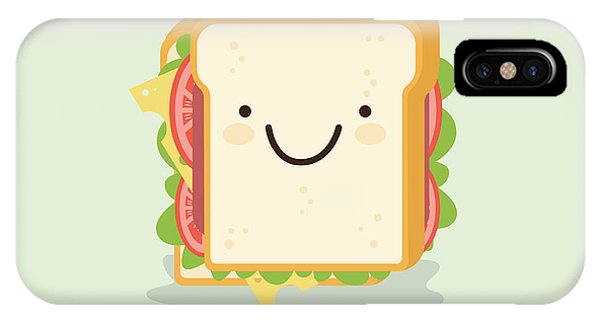 Humor iPhone Case - Sandwich Cartoon Vector Illustration by Metsi