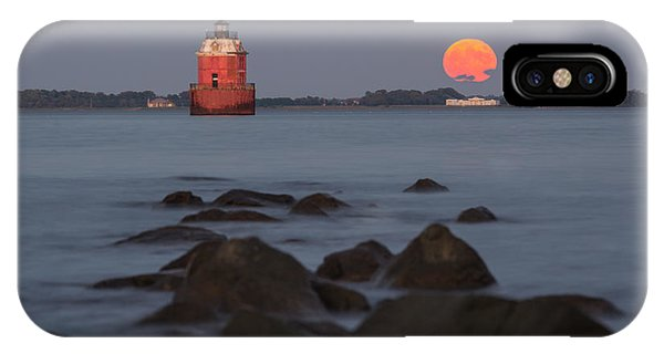 Sandy Point Lighthouse Moonrise IPhone Case