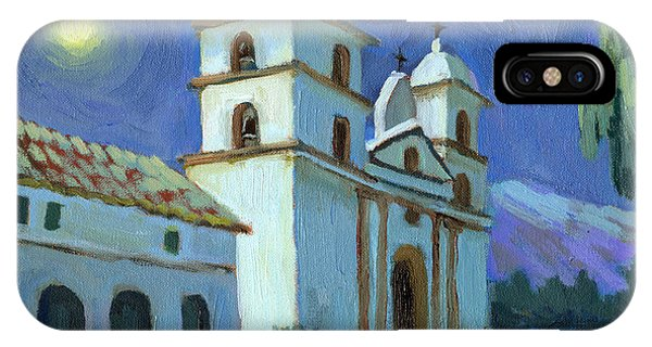 Santa Barbara Mission Moonlight IPhone Case