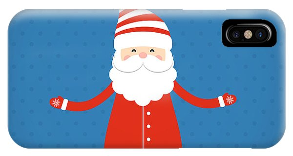 Santa Claus iPhone Case - Santa Claus On A Blue Background by Bellenixe