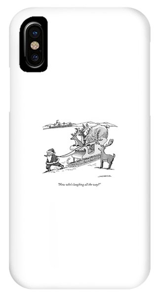 Santa Claus Pulls A Sleigh Full Of Reindeer IPhone Case