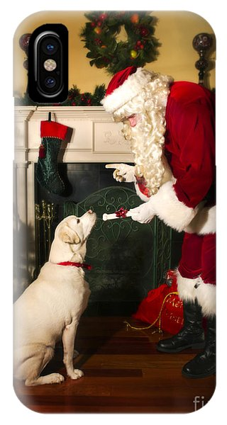 Christmas Tree iPhone Case - Santa Giving The Dog A Gift by Diane Diederich