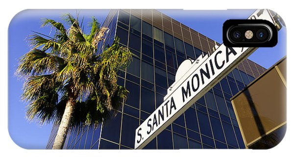 Beverly Hills iPhone Case - Santa Monica Blvd Sign In Beverly Hills California by Paul Velgos