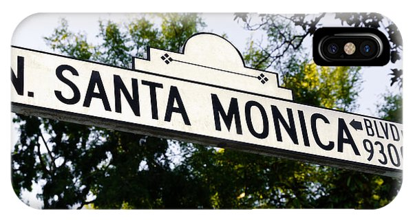 Beverly Hills iPhone Case - Santa Monica Blvd Street Sign In Beverly Hills by Paul Velgos