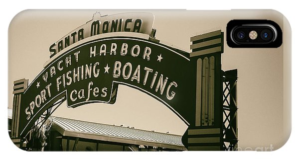 IPhone Case featuring the photograph Santa Monica Pier Sign by David Millenheft