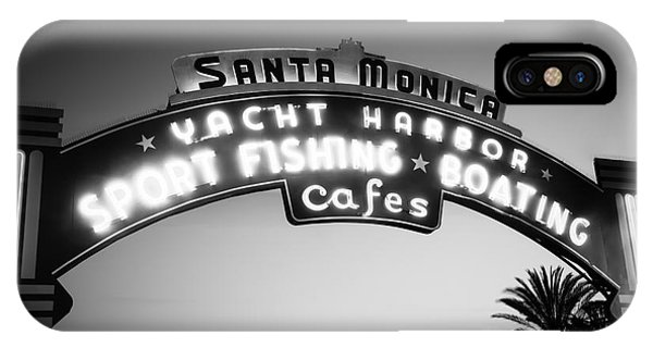 Santa Monica Pier Sign In Black And White IPhone Case