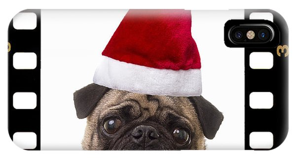 Pug iPhone X Case - Santa Pug - Canine Christmas by Edward Fielding