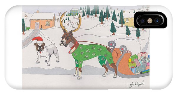 IPhone Case featuring the drawing Santas Helpers by John Wiegand
