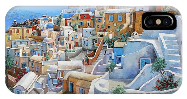 Sea iPhone X Case - Santorini A Colori by Guido Borelli