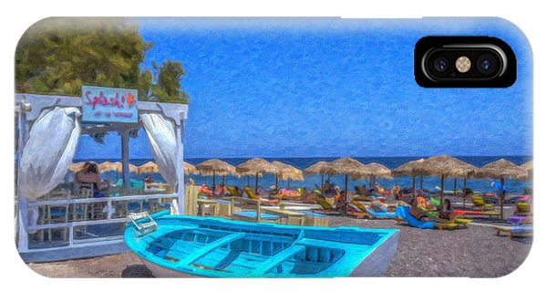 Santorini Beach Boat Grk4151 IPhone Case