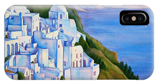Santorini Greece Watercolor IPhone Case