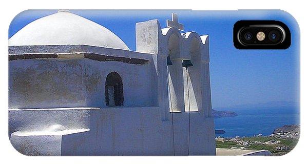 Santorini Hilltop Chapel IPhone Case