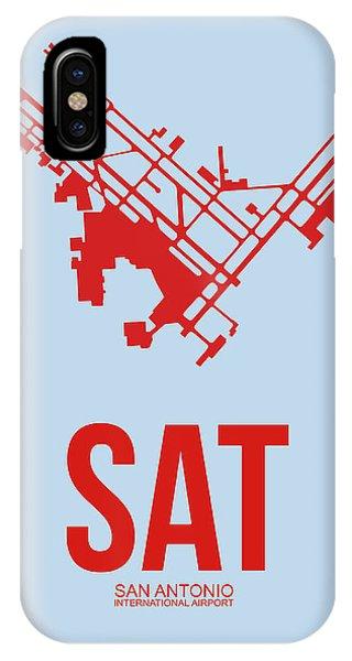 Travel iPhone Case - Sat San Antonio Airport Poster 1 by Naxart Studio