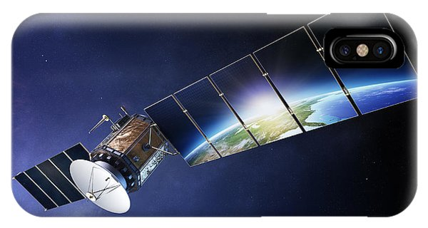 Earth Orbit iPhone Case - Satellite Communications With Earth by Johan Swanepoel