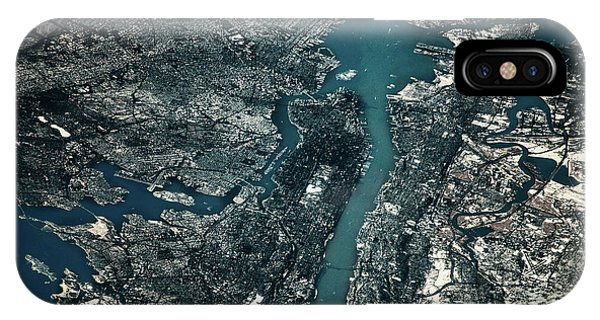 International Space Station iPhone Case - Satellite View Of Cities Of New York by Panoramic Images