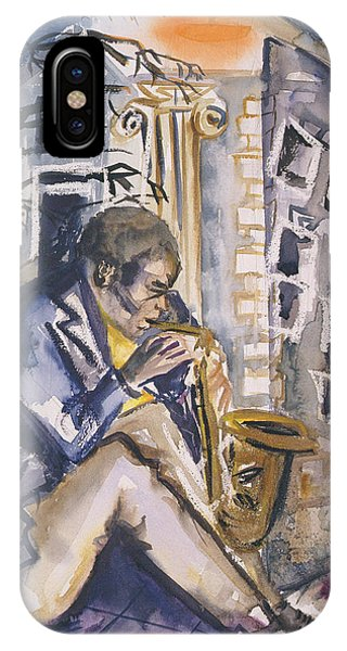 Sax Player, 1998 Wc On Paper IPhone Case