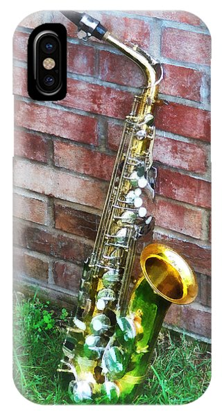 Saxophone Against Brick IPhone Case