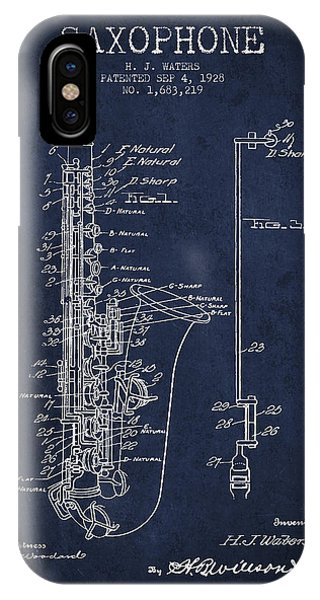 Saxophone iPhone X Case - Saxophone Patent Drawing From 1928 by Aged Pixel