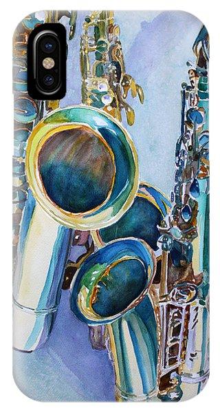 Saxophone iPhone X / XS Case - Saxy Trio by Jenny Armitage