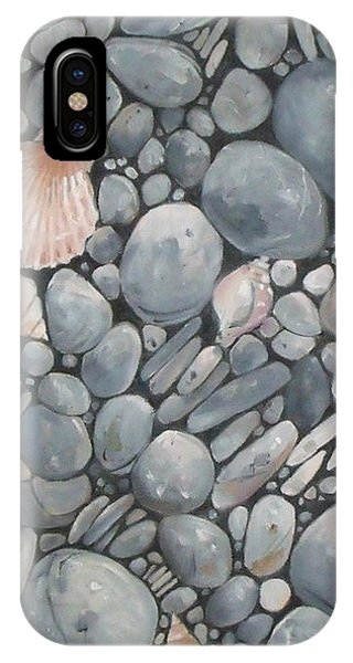 Scallop Shell And Black Stones IPhone Case